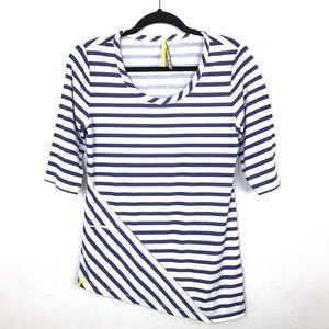 Lole Asymmetric White/Purple Stripe Top Sz Medium